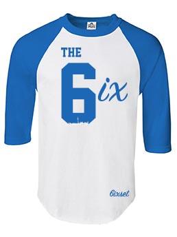 The 6ix Raglan by 6ixset - Royal Blue on White