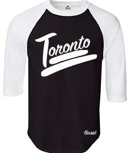 Toronto 100 Raglan by 6ixset - White on Black