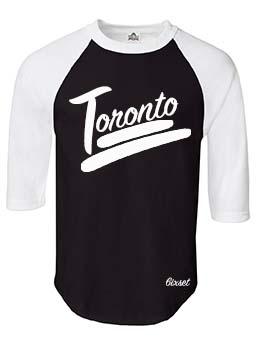 Toronto 100 Raglan by 6ixset - White on Black