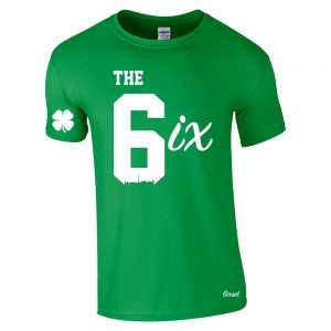 the 6ix by 6ixset white on irish green mens crewneck tshirt
