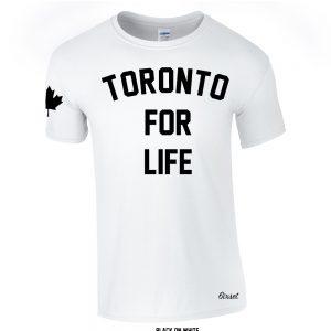 toronto for life black on white crewneck t-shirt - R