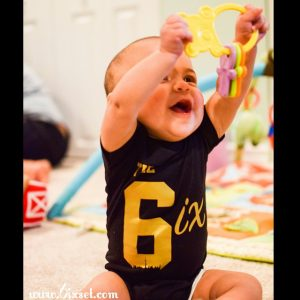 The 6ix by 6ixset Black and Gold Infant Baby Onesie