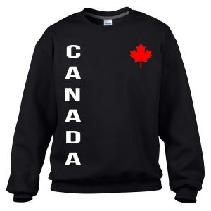 Canada Series - Vertical Leaf by 6ixset - White Logo with Red Leaf on Black Sweater