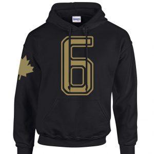 Outline 6 Gold Logo on Black Hooded Sweater