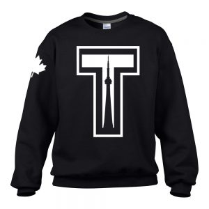 Tower by 6ixset White Logo on Black Crewneck Sweater