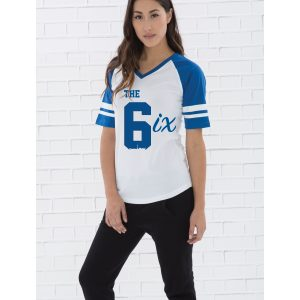 the-6ix-by-6ixset-royal-blue-on-white-and-royal-blue-ladies-vneck-baseball-tee-model