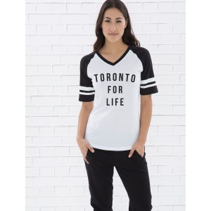 toronto-for-life-by-6ixset-black-on-white-and-black-ladies-vneck-baseball-tee-front-model