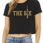 CN Tower x The 6ix by 6ixset Gold on Black Ladies Crop T-Shirt