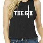 CN Tower x The 6ix by 6ixset White on Black Ladies Crop Tanktop