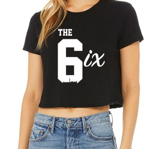 The 6ix by 6ixset White on Black Ladies Crop T-Shirt