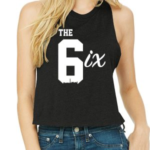The 6ix by 6ixset White on Black Ladies Racerback Cropped Tanktop