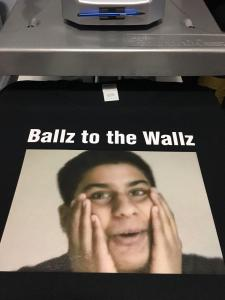 custom - ballz to the wallz with colour photo - black t-shrit