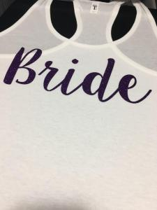 custom - bride glitter purple on ladies white tanktop