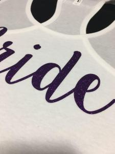 custom - bride glitter purple on ladies white tanktop 2