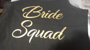 custom - bride squad - gold on black ladies tanktop
