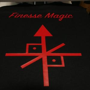 custom - finesse magic and logo red on black hoodie