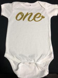 custom - first birthday gold on white baby one piece