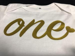 custom - first birthday gold on white baby one piece 2