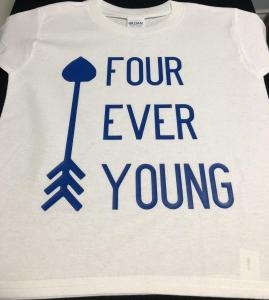 custom - four ever young blue on white
