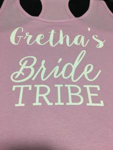 custom - gretha's bride tribe glitter white on pink ladies tanktop