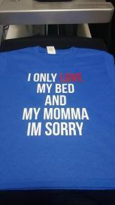 custom - i only love my bed and my momma white on royal blue toddler t-shirt
