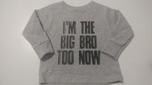 custom - im the big bro now black on grey toddler t-shirt