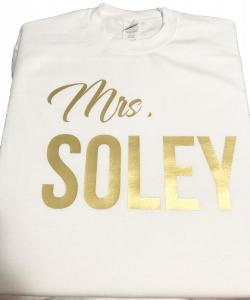 custom - mrs soley gold on white sweater