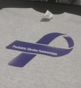 custom - pediatric stroke awareness purple on grey t-shirt