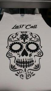 custom - sugar skill and last call black on white tanktop
